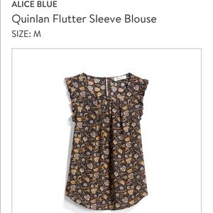 Alice Blue Quinlan Flutter Sleeve Blouse NWT
